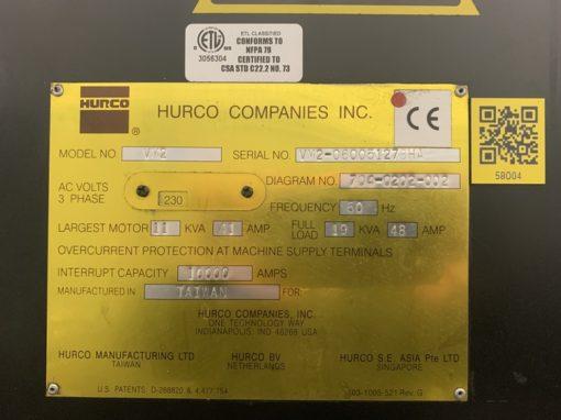 HURCO VM2 Vertical Machining Centers 2